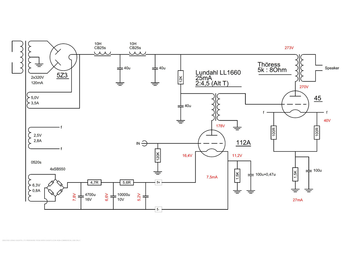 112a Driver Tube Lundahl Interstage 45 Powertube And Thress Amp Schematic Single Ended Power With Electronic