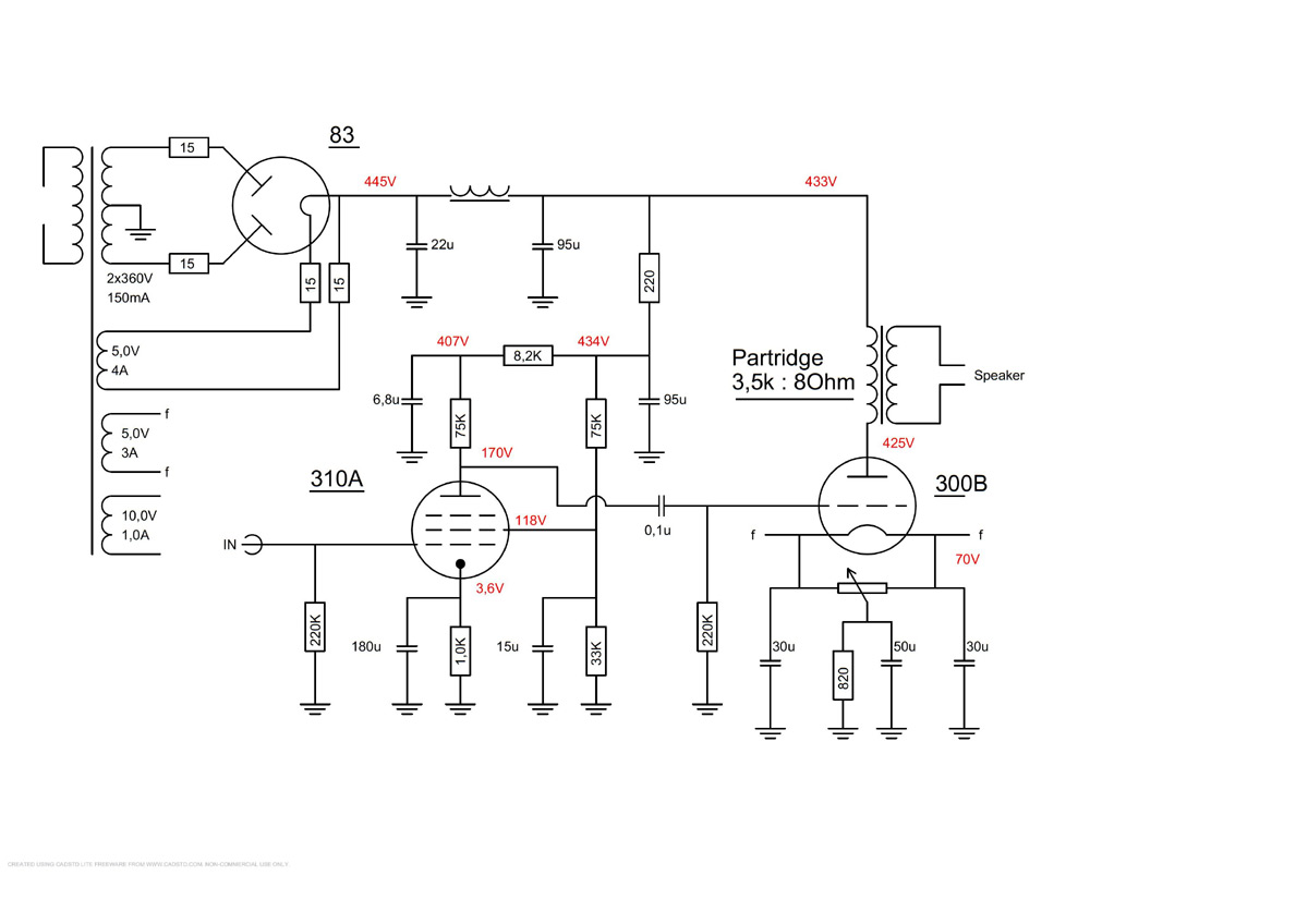 300b 310a Tube Schematic Of Power Amp With Partridge Transformers Transformer Schematics And Electronic