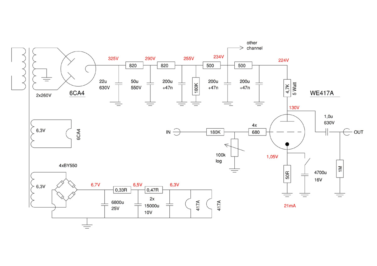 We417a Or 5842 Triode Tube Preamp Schematic Circuit Tubepreamplifier With Triodes Electronic